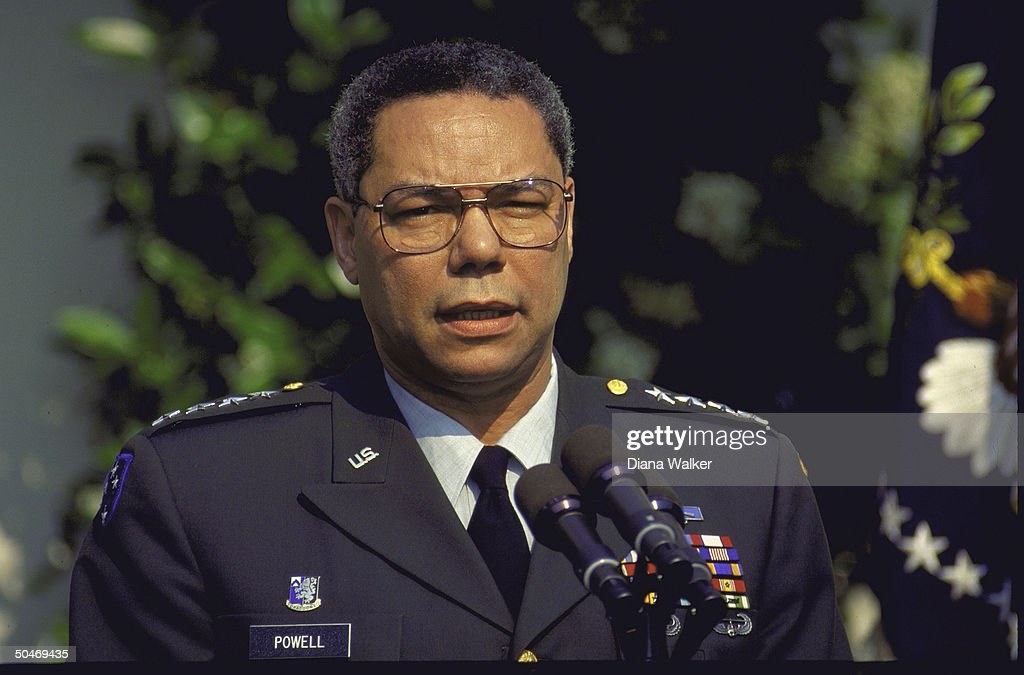 Gen Colin Powell speaking in WH Rose Garden during Bush announcement of his reappointment as chmn of joint chiefs of staff