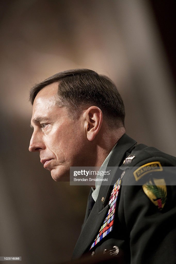 Gen. <a gi-track='captionPersonalityLinkClicked' href=/galleries/search?phrase=David+Petraeus&family=editorial&specificpeople=175826 ng-click='$event.stopPropagation()'>David Petraeus</a>, the commander of U.S. forces in the Middle East, arrives for a confirmation hearing of the Senate Armed Services Committee on Capitol Hill June 29, 2010 in Washington, DC. Petraeus has been appointed by U.S. President Barack Obama to replace U.S. Gen. Stanley McCrystal as commander of the United States Forces Afghanistan.