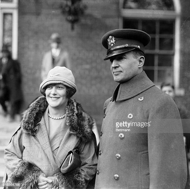 Gen Douglas MacArthur member of the Mitchell Court Martial Board with Mrs MacArthur formerly Miss Cromwell Brooks of Washington and very popular in...