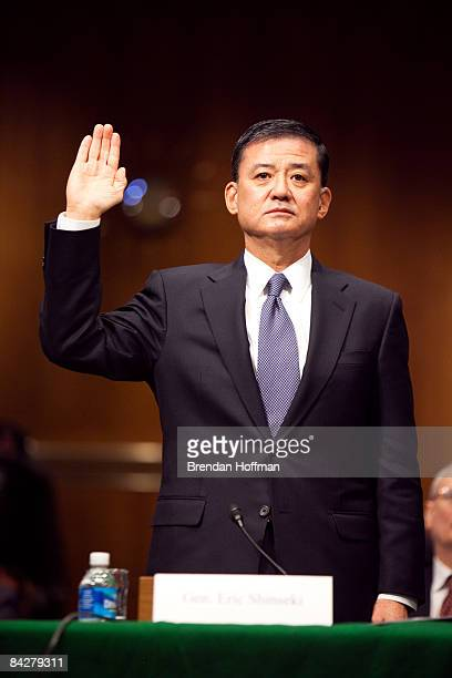 Gen Eric Shinseki is sworn in to testify during his confirmation hearing to head the Department of Veterans Affairs on January 14 2009 in Washington...