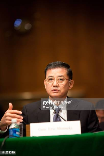 Gen Eric Shinseki testifies during his confirmation hearing to head the Department of Veterans Affairs on January 14 2009 in Washington DC The...