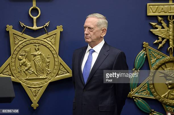 Gen James Mattis looks on before being swornin as US Defense Secretary in the Hall of Heroes at the Department of Defense on January 27 2017 in...