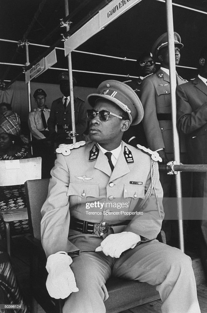 Gen. Joseph D. Mobutu attending opening ceremonies of new military training camp.