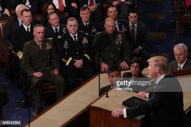 Gen Joseph Dunford Chairman of the Joint Chiefs of Staff and the Joint Chiefs of Staff look on as US President Donald Trump addresses a joint session...