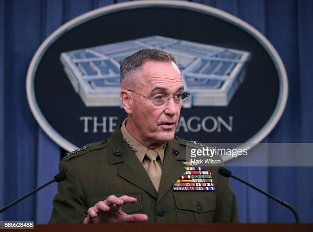 Gen Joseph Dunford Jr Chairman of the Joint Chiefs of Staff briefs the media on the recent military operations in Niger at the Pentagon on October 23...
