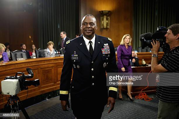 Gen Lloyd Austin III commander of US Central Command prepares to testify before the Senate Armed Services Committee about the ongoing US military...