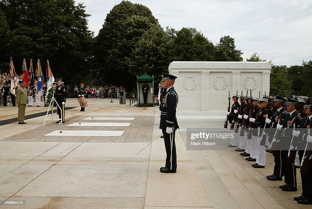 Gen Rashad Mahmood Pakistan Chairman of the Joint Chiefs of Staff participates in a wreath laying ceremony at the Tomb of the Unknown Soldier June 19...