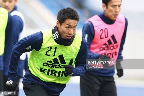 Gen Shoji of Japan in action during a Japan training session ahead of the international friendly against Brazil on November 8 2017 in Lille France
