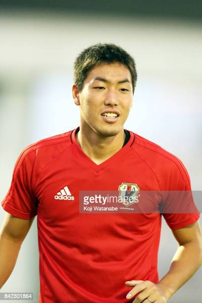Gen Shoji of Japan in action during a training session ahead of the FIFA World Cup qualifier against Saudi Arabia at AlAhli Saudi Sports Club on...