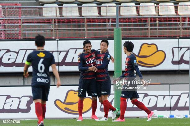 Gen Shoji of Kashima Antlers celebrates scoring his side's second goal with his team mates during the JLeague J1 match between Kashima Antlers and...