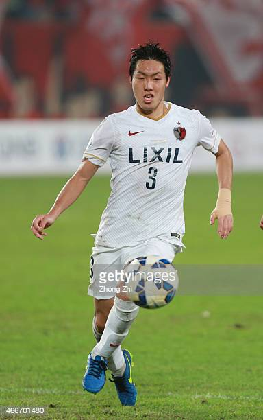 Gen Shoji of Kashima Antlers in action during the AFC Asian Champions League Group H match between Guangzhou Evergrande and Kashima Antlers at Tianhe...