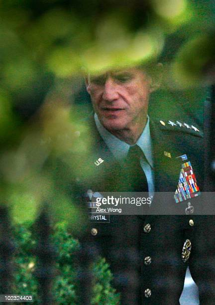 Gen Stanley McChrystal the top commander of the US Force in Afghanistan arrives at the White House for a meeting with US President Barack Obama June...