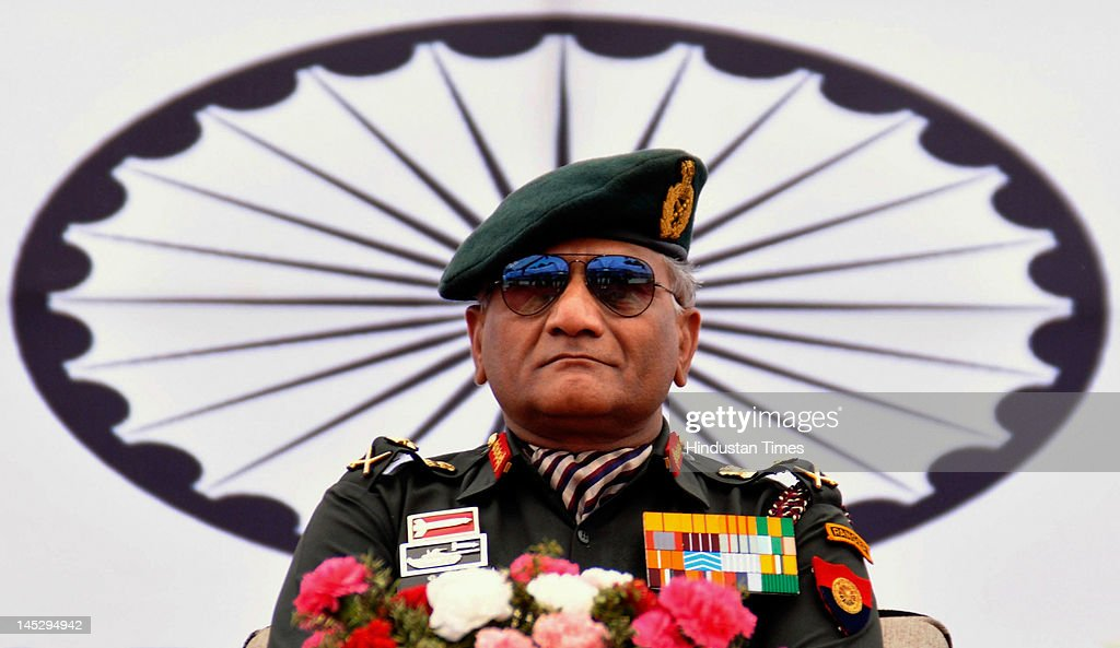 Gen. V.K.Singh, chief of army staff, addresses a rally of ex-serviceman on May 25, 2012 in Dharamshala, India. Singh, who retires May 31, will be replaced by Lt. Gen. Bikram Singh as chief of army staff.