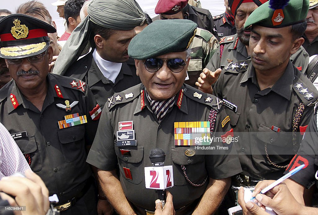 Gen. V.K.Singh, chief of army staff, addresses the media after a rally by ex-serviceman on May 25, 2012 in Dharamshala, India. Singh, who retires May 31, will be replaced by Lt. Gen. Bikram Singh as chief of army staff.