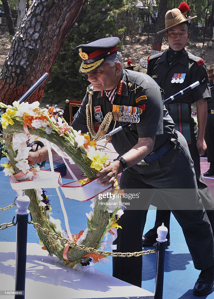 Gen. V.K.Singh, chief of army staff, pays homage to martyrs at the War memorial on May 25, 2012 in Dharamshala, India. Singh, who retires May 31, will be replaced by Lt. Gen. Bikram Singh as chief of army staff.