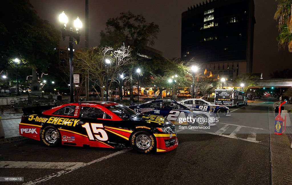 Gen-6 cars on display during the Road to Daytona Fueled By Sunoco Tour stop at City Hall on February 12, 2013 in Jacksonville, Florida.