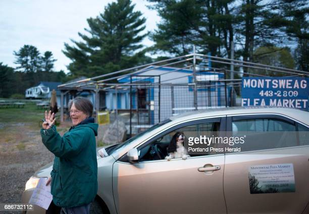 Gena Kilkenny waves hello at a vendor she knows as they drive into the Montsweag Flea Market before opening morning The market which sits in a field...