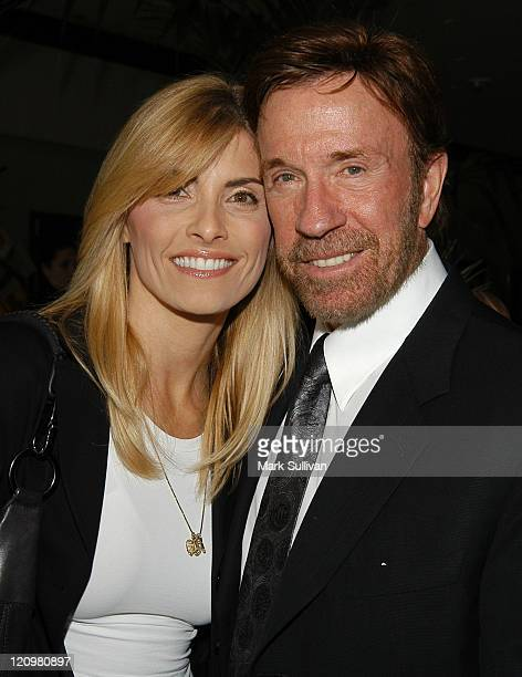 Gena O'Kelley and Chuck Norris during Celebrities at the 2003 Breeders Cup at Oak Tree at Santa Anita in Arcadia California United States