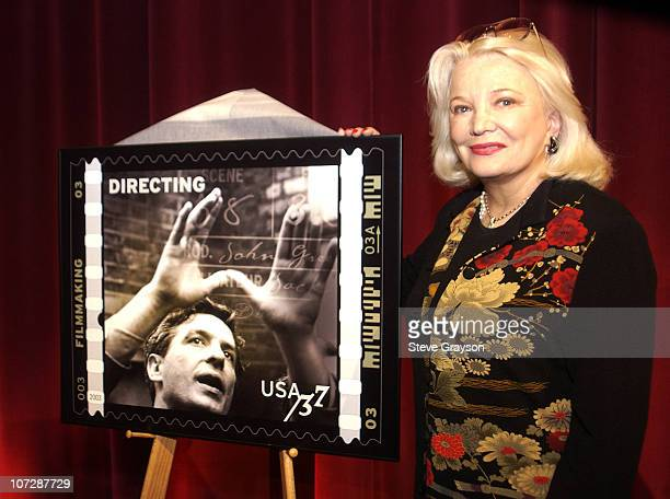 Gena Rowlands and an American Filmmaking postage stamp showing her late husband John Cassavetes