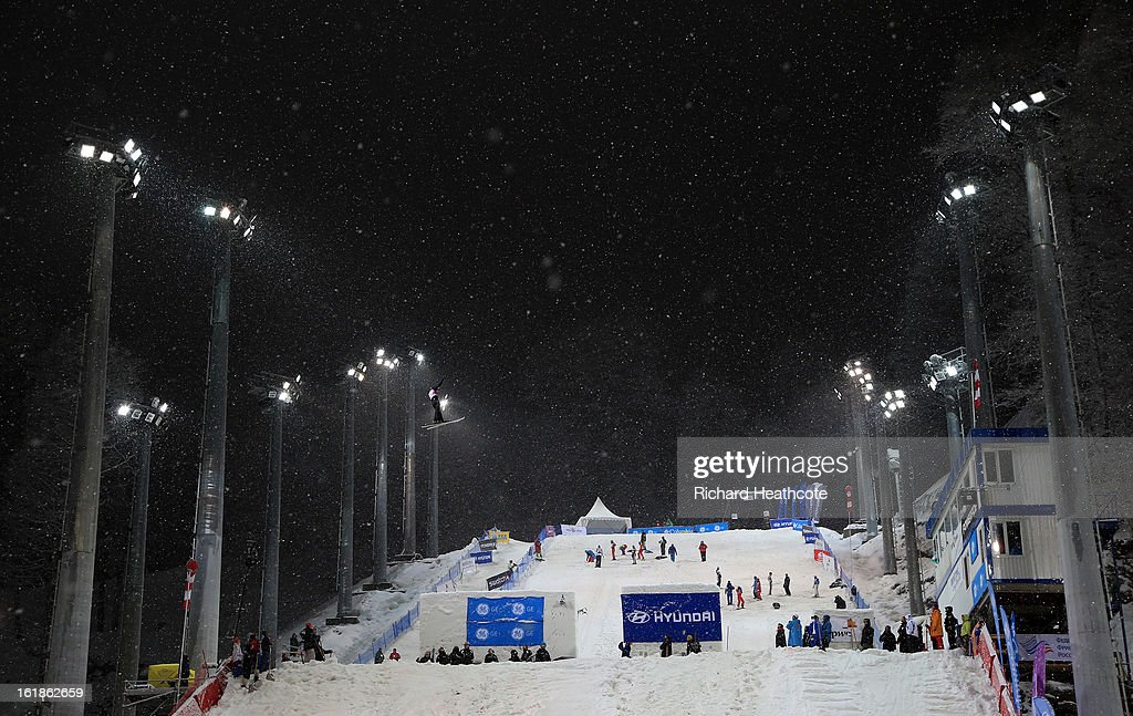 A genaerl view of the Ariels course during the FIS World Cup Freestyle Ariels competition at the Rosa Khutor Extreme Park in Krasnya Polyana on February 17, 2013 in Sochi, Russia. Sochi is preparing for the 2014 Winter Olympics with test events across the venues.