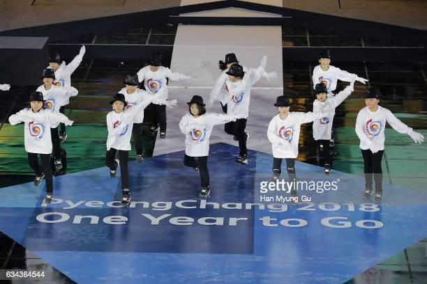 A genaral view of the PyeongChang 2018 One Year to Go Ceremony at Gangneung Hockey Center on February 9 2017 in Gangneung South Korea