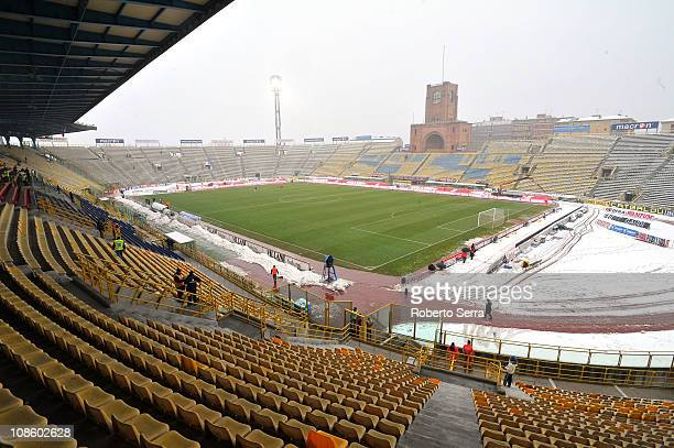 A genaral view of the Stadio Renato Dall'Ara snowcovered before the Serie A match between Bologna FC and AS Roma at Stadio Renato Dall'Ara on January...