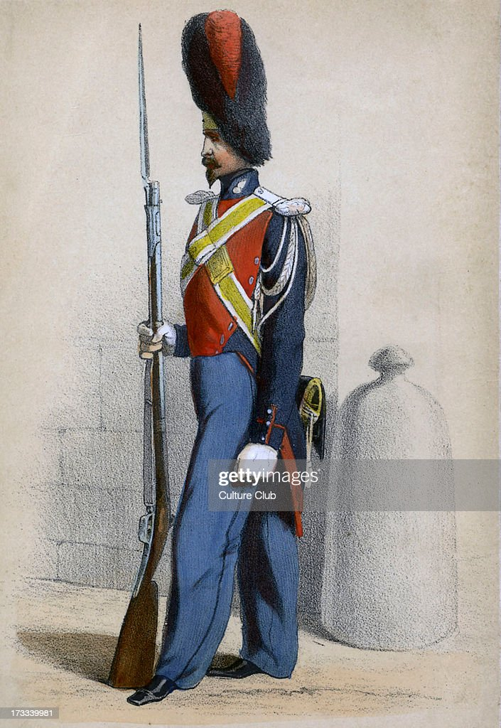 Gendarme d'élite member of light cavalry units consisiting of young men of noble birth in the 19th century French Army From series 'Paris au XIX...