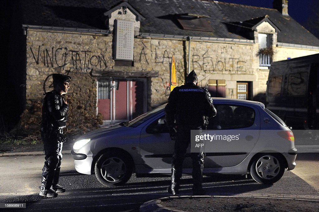 Gendarmes control the access to music festival organized by opponents against a project of international airport on January 4, 2013 in Notre-Dame-des-Landes, western France. The project was signed in 2010 and the international airport is scheduled to open in 2017 near the city of Nantes.