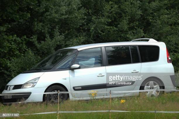 Gendarmes take aboard their car Murielle Bolle after she was arrested for questionning on June 28 2017 in Granges sur Vologne eastern France as part...