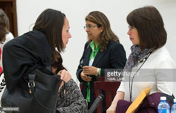 Gender Commission experts Tanja Nijmeijer and Olga Amparo del Socorro are seen after a press conference in the framework of the peace talks between...