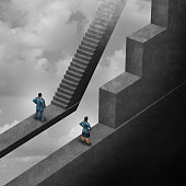 Gender discrimination and sexism inequality for being female concept as a woman with the burden of climbing a difficult obstacle and a man with easy path stairs as a 3D illustration symbol as a symbol