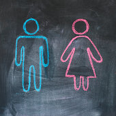 Figures of man and woman on a blackboard, chalk drawing