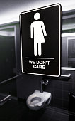 Gender neutral signs are posted in the 21C Museum Hotel public restrooms on May 10 2016 in Durham North Carolina Debate over transgender bathroom...