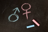 Male and female symbols drawn using chalk on a chalkboard
