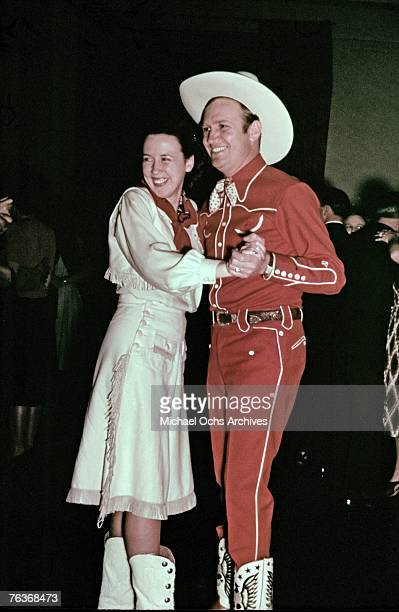 Gene Autry dances with his wife Ina Mae Spivey circa the 1940s in Hollywood California