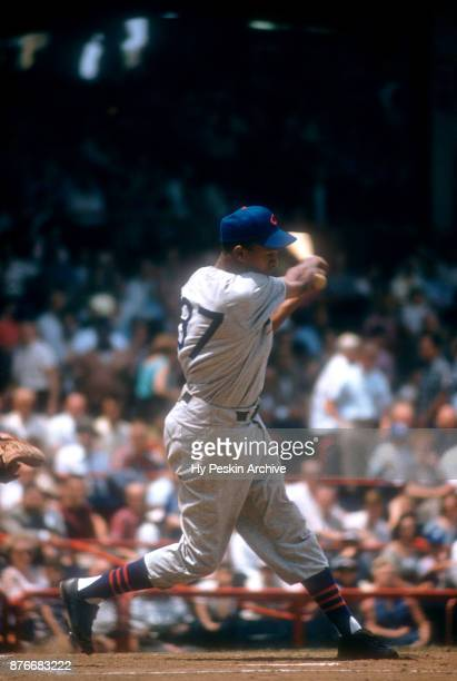 Gene Baker of the Chicago Cubs swings at the pitch during an MLB game against the Cincinnati Redlegs on July 4 1956 at Crosley Field in Cincinnati...