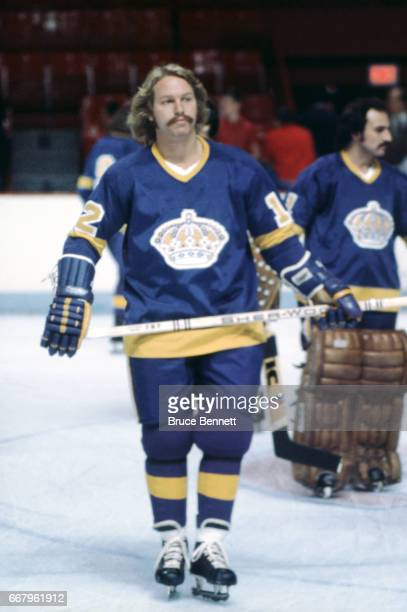Gene Carr of the Los Angeles Kings skates on the ice during warmups before an NHL game against the Montreal Canadiens circa 1976 at the Montreal...