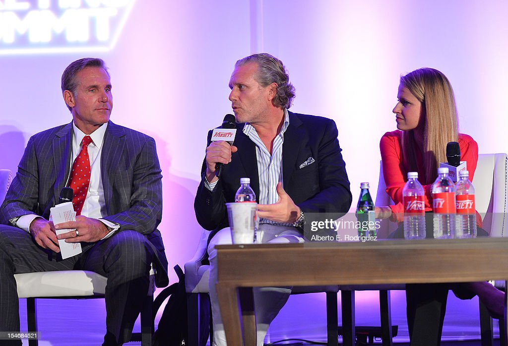 Gene Garlock, Senior Vice President, Global Promotions, Warner Bros, Ruben Igielko-Herrlich, Founder, Propaganda-Gem, and Lauren Radcliffe, Director, Branded Entertainment, Dr. Pepper Snapple Group speak onstage during the Global Partnership panel at Variety's 2012 Film Marketing Summit in Association with Stradella Road at InterContinental Hotel on October 24, 2012 in Century City, California.