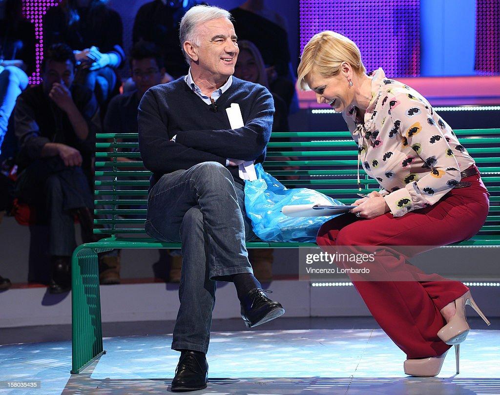 Gene Gnocchi and Simona Ventura attend 'Cielo Che Gol' Italian TV Show on December 9, 2012 in Milan, Italy.