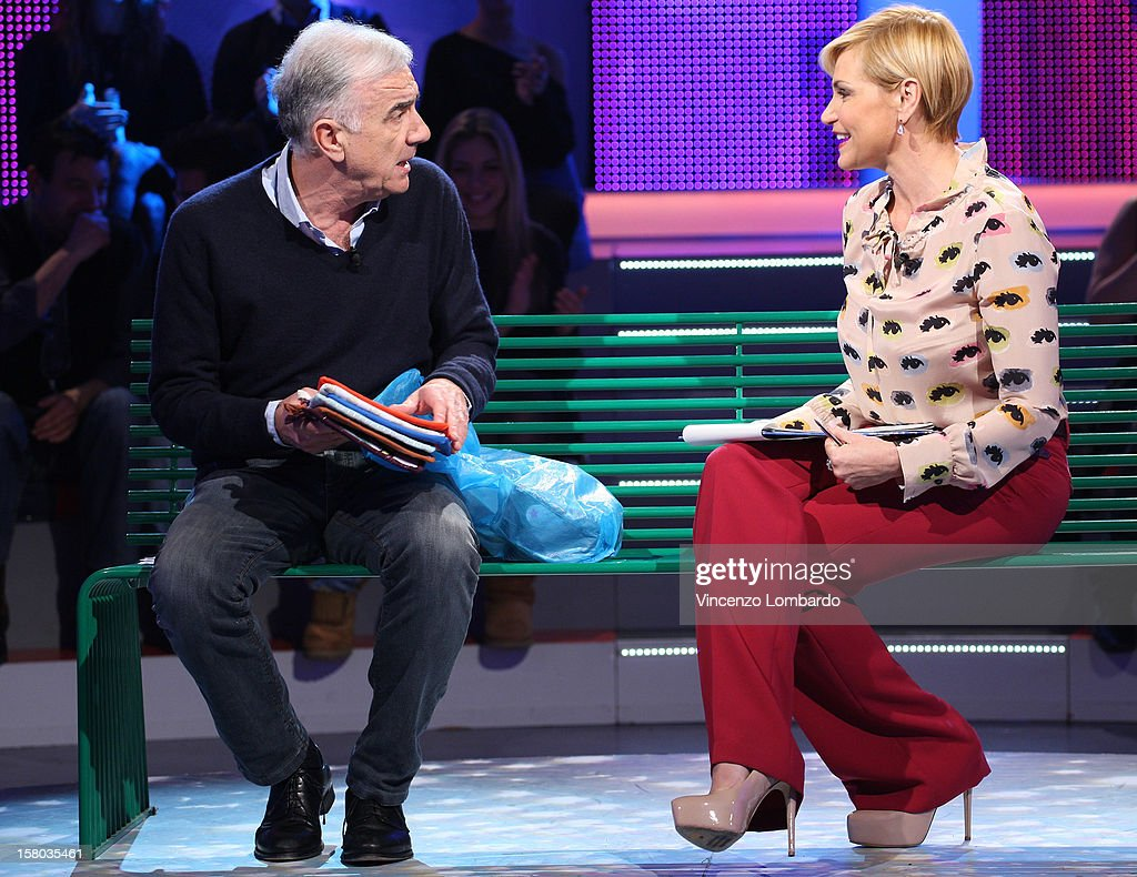 Gene Gnocchi and Simona Ventura attend 'Cielo Che Gol' Italian TV Show on December 9, 2012 in Milan, Italy.