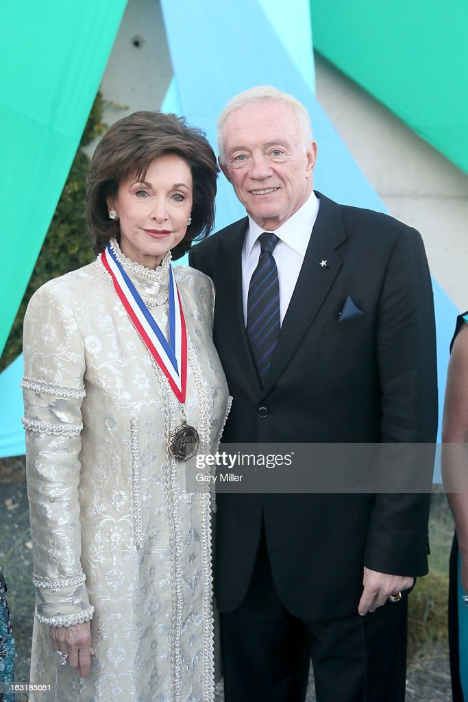 Gene Jones (L) and <a gi-track='captionPersonalityLinkClicked' href=/galleries/search?phrase=Jerry+Jones+-+American+Football+Team+Owner&family=editorial&specificpeople=11445386 ng-click='$event.stopPropagation()'>Jerry Jones</a> walk the red carpet before the Texas Medal of Arts Awards show at The Long Center on March 5, 2013 in Austin, Texas.