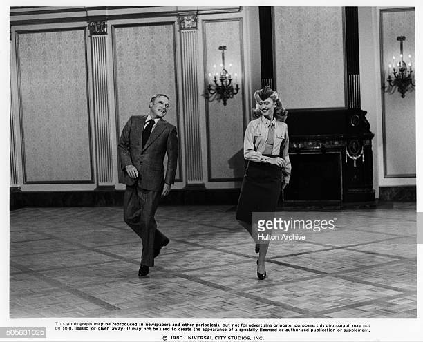 Gene Kelly and Olivia NewtonJohn dance in a scene in the Universal Studio movie 'Xanadu' circa 1979