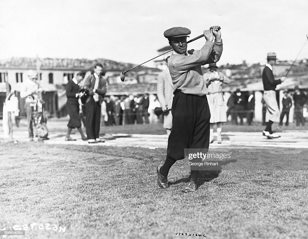 Gene Sarazen, 1922 US Open Champion driving during the Agua Caliente open tourney for the world's richest golf prize ($25,000), which he won over a field of such distinguished competitors as Leo Diegel, Walter Hagen, Al Espinosa, George Van Elm and a host of other famous golfers. | Location: Agua Caliente, California, USA.