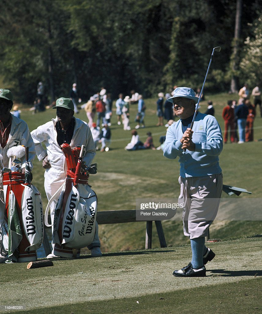 Gene Sarazen of the USA during the 1977 Masters Tournament at Augusta National Golf Club on April 6, 1977 in Augusta, Georgia.