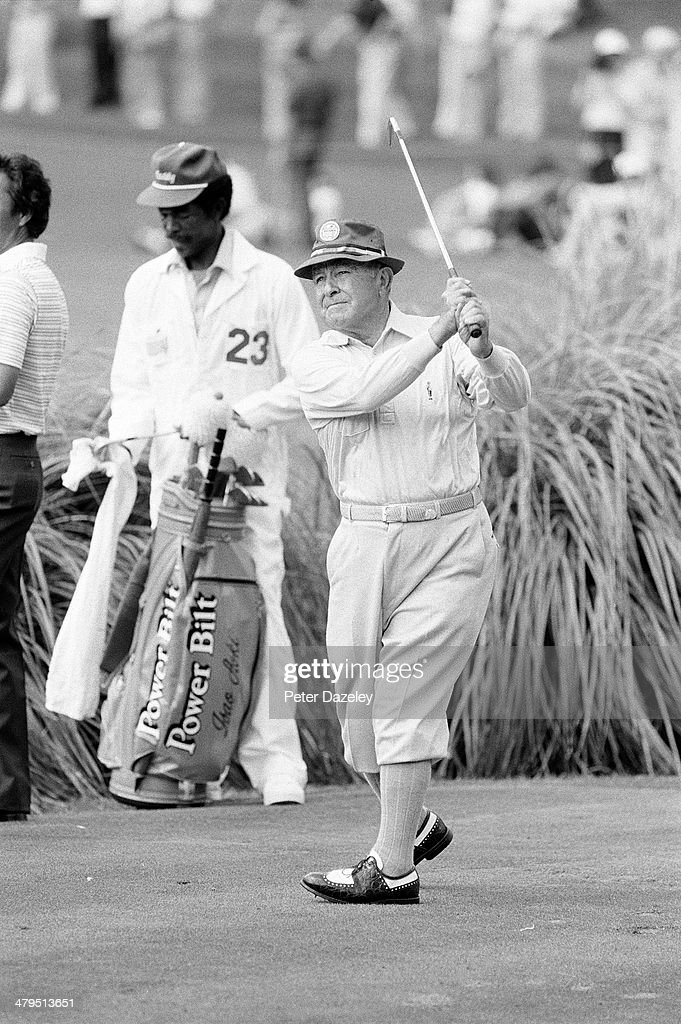 <a gi-track='captionPersonalityLinkClicked' href=/galleries/search?phrase=Gene+Sarazen&family=editorial&specificpeople=890883 ng-click='$event.stopPropagation()'>Gene Sarazen</a> of the USA during the 44th Masters Tournament at Augusta National Golf Club on April 09, 1980 in Augusta, Georgia.