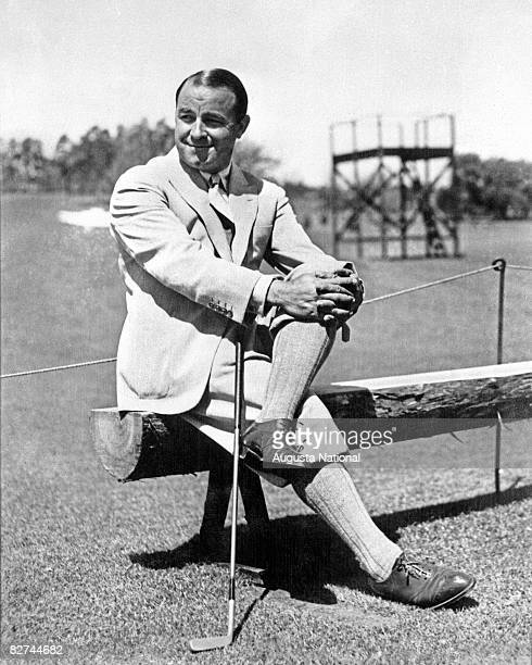 Gene Sarazen sits on a bench during the 1935 Masters Tournament at Augusta National Golf Club held April 48 1935 in Augusta Georgia
