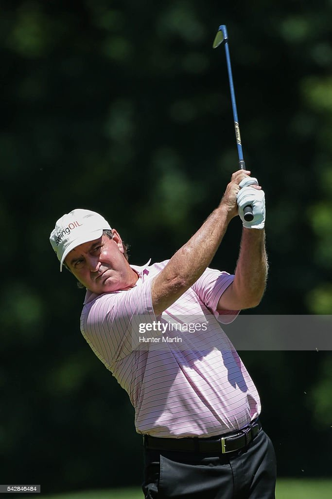<a gi-track='captionPersonalityLinkClicked' href=/galleries/search?phrase=Gene+Sauers&family=editorial&specificpeople=2617796 ng-click='$event.stopPropagation()'>Gene Sauers</a> hits his second shot on the 14th hole during the first round of the Champions Tour American Family Insurance Championship at University Ridge Golf Course on June 24, 2016 in Madison, Wisconsin.