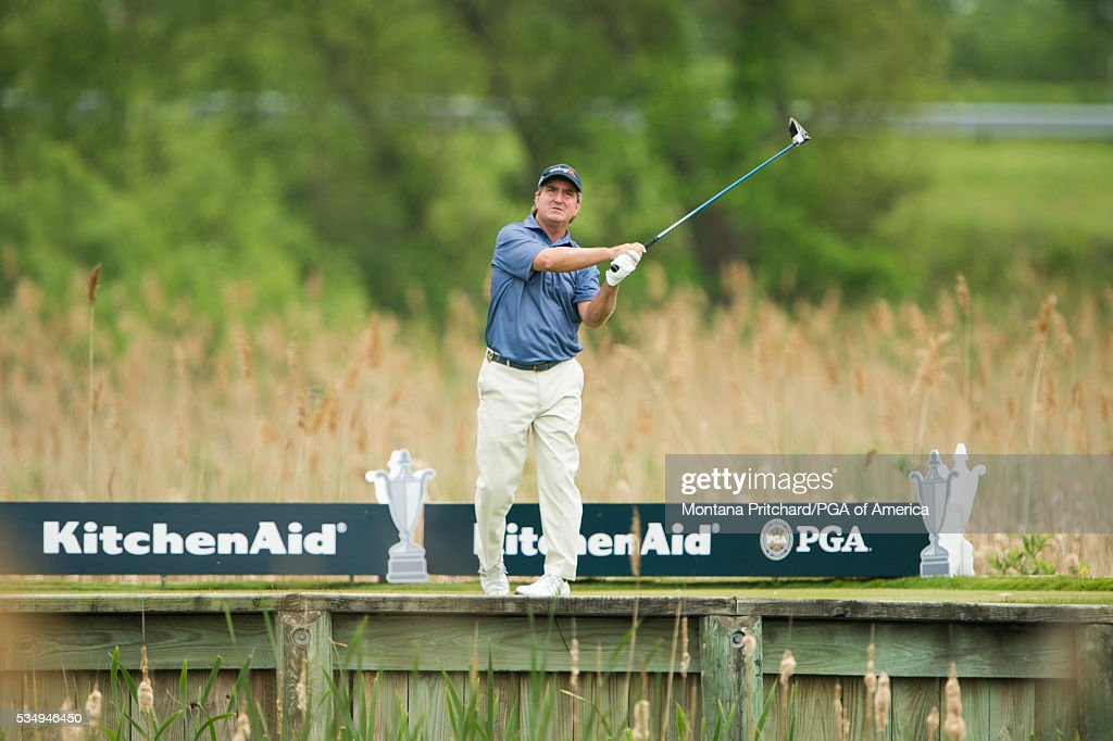 <a gi-track='captionPersonalityLinkClicked' href=/galleries/search?phrase=Gene+Sauers&family=editorial&specificpeople=2617796 ng-click='$event.stopPropagation()'>Gene Sauers</a> hits his tee shot on the seventh hole during the third round for the 77th Senior PGA Championship presented by KitchenAid held at Harbor Shores Golf Club on May 28, 2016 in Benton Harbor, Michigan.