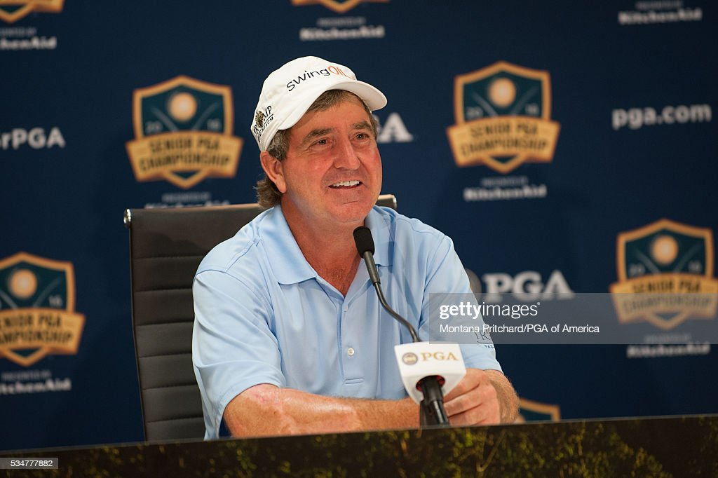 <a gi-track='captionPersonalityLinkClicked' href=/galleries/search?phrase=Gene+Sauers&family=editorial&specificpeople=2617796 ng-click='$event.stopPropagation()'>Gene Sauers</a> speaks at a press conference during the second round for the 77th Senior PGA Championship presented by KitchenAid held at Harbor Shores Golf Club on May 27, 2016 in Benton Harbor, Michigan.