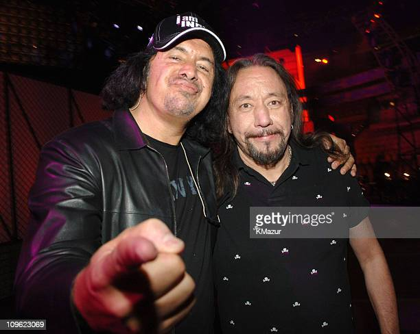 Gene Simmons and Ace Frehley of Kiss during 2006 VH1 Rock Honors Rehearsals Day Two at Mandalay Bay Hotel and Casino in Las Vegas Nevada United States